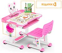 Комплект Evo-kids (стул+стол+полка) BD-04 G (XL) Teddy Grey - столешница белая / цвет пластика серый Розовый с белым