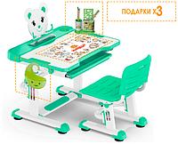 Комплект Evo-kids (стул+стол+полка) BD-04 G (XL) Teddy Grey - столешница белая / цвет пластика серый Зеленый с белым