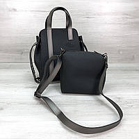 Женская сумка с косметичкой черного цвета