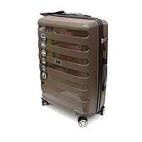 Пластиковый чемодан из полипропилена на 4-колесах 70 л Wings коричневый