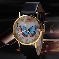 Часы женские GENEVA (ЖЕНЕВА) Butterfly ЧЕРНЫЕ, фото 1