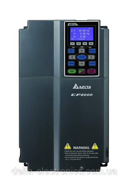 Преобразователь частоты Delta Electronics, 1,5 кВт,400В,3ф.,векторный, c ПЛК, VFD015CP43A-21