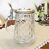 Коллекционный пивной бокал, стекло, оловянная крышка, Германия, 600 мл