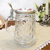 Коллекционный пивной бокал, стекло, оловянная крышка, Германия, 600 мл, фото 1