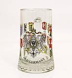 Немецкая кружка для пива, пивной бокал, стекло, Германия, гербовая символика, фото 4