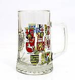 Немецкая кружка для пива, пивной бокал, стекло, Германия, гербовая символика, фото 3