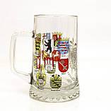 Немецкая кружка для пива, пивной бокал, стекло, Германия, гербовая символика, фото 5