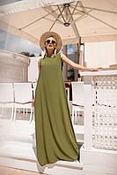 Легкое летнее платье (хакки. Размер до 52)