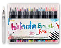 Акварельные маркеры ( маркер - кисточка) 20 цветов . Набор маркеров для рисования