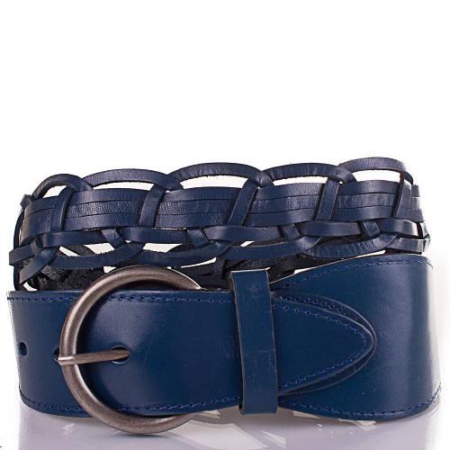 Женский плетёный кожаный ремень ETERNO (ЭТЕРНО) ETS269-6 синий