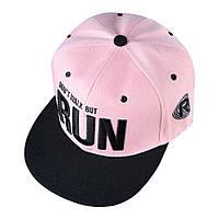 Кепка снепбек RUN з прямим козирком Рожева 2, Унісекс, фото 1