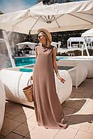Легкое летнее платье (Мокко. Размер до 52)