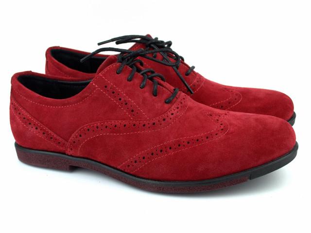 Красные туфли броги оксфорды мужские замшевые обувь больших размеров Rosso Avangard BS Romano Red Vel