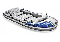 Лодка пятиместная надувная с насосом и веслами Intex EXCURSION 68325, до 455 кг