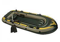 """Лодка надувная четырехместная с веслами и насосом Intex 68351 """"Seahawk"""", до 400 кг"""