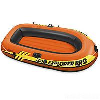 Двухместная, небольшая, надувная лодка Intex 58356 Explorer Pro 200 (196*102*33 см), до 120 кг, оранжевая