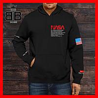 Мужской худи от NASA Асос на весну , осень. С капюшоном черного цвета.