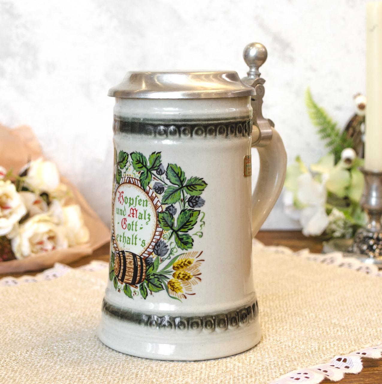 Пивной бокал, немецкая кружка для пива, керамика, оловянная крышка, Германия, 500 мл