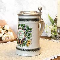 Пивной бокал, немецкая кружка для пива, керамика, оловянная крышка, Германия, 500 мл, фото 1