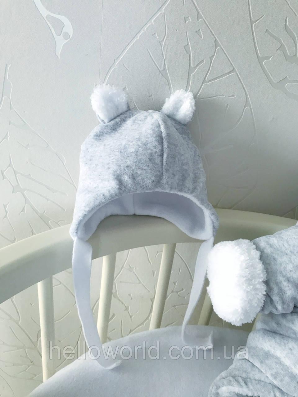 Шапочка серая мишка