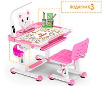 Комплект Evo-kids (стул+стол+полка+лампа) BD-04 P Teddy Pink c лампой - столешница белая/цвет пластика розовый