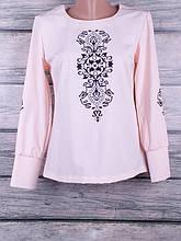 Блузка женская однотонная с сублимацией на ткани с длинными рукавами и манжетами на пуговках (персиковый)