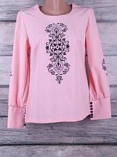 Блузка женская однотонная с сублимацией на ткани с длинными рукавами и манжетами на пуговках (розовый)