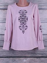 Блузка женская однотонная с сублимацией на ткани с длинными рукавами и манжетами на пуговках (фиолетовый)