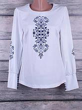 Блузка женская однотонная с сублимацией на ткани с длинными рукавами и манжетами на пуговках (белый)