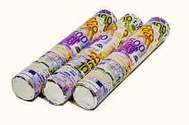 """Хлопушка пневматическая """"Евро"""". Размер: 20см. Начинка: евро купюры."""