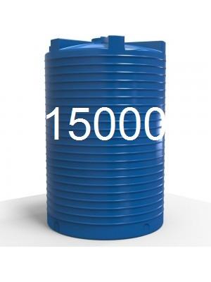 Емкость для воды пластиковая двухслойная вертикальная 15000 литров.