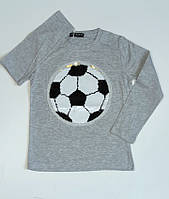Джемпер, кофта  для мальчика пайетки  футбольный мяч  ,140-152 рост