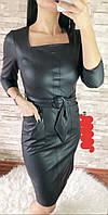 Платье женское стильное эко-кожа с поясом и карманами размер44-50,черного цвета