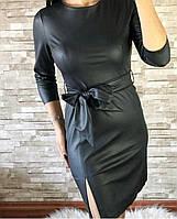 Платье женское стильное эко-кожа с поясомразмер44-50,черного цвета