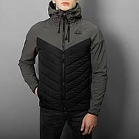 """Мужская весенняя куртка с капюшоном Pobedov Jacket """"Soft Shell combi v2"""" серо-черная"""
