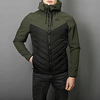 "Куртка мужская весенняя с капюшоном Pobedov Jacket ""Soft Shell combi v2"" хаки-черная"