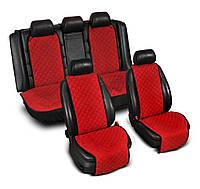 Накидки на сидения из Алькантары красные ,широкие, полный комплект
