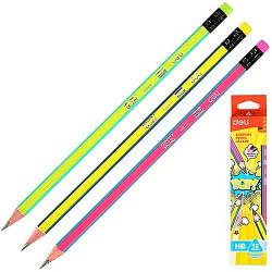 Олівець ч / г Deli EU52400 мікс Нb POP з ласт зао карт / кор