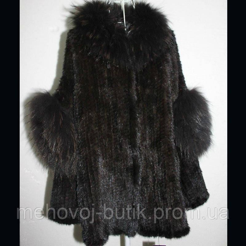 пальто накидка из скандинавской вязаной норки модель камалия