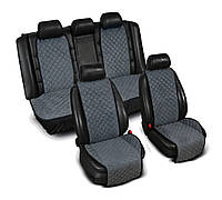 Накидки на сидения из Алькантары серые ,широкие, полный комплект