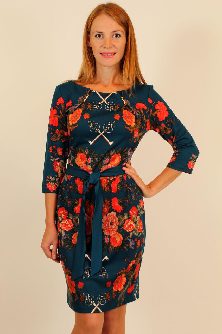 Элегантное прямое платье 44-50 р ( изумруд, черный )