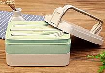 Трехъярусный ланч-бокс с вилкой и ложкой, коричневый ( контейнер для еды ), фото 2
