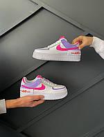 "Кроссовки женские Nike Air Force 1 ""Shadow"" Double Swoosh Sail Pink Purple ТОП реплика"