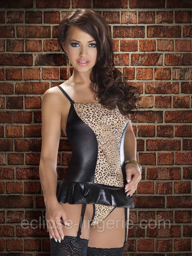 Девушки в леопардовом белье и черных чулках