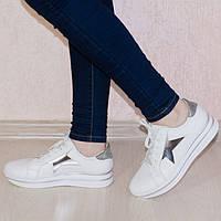 Кроссовки белые со звездами 8041, фото 1