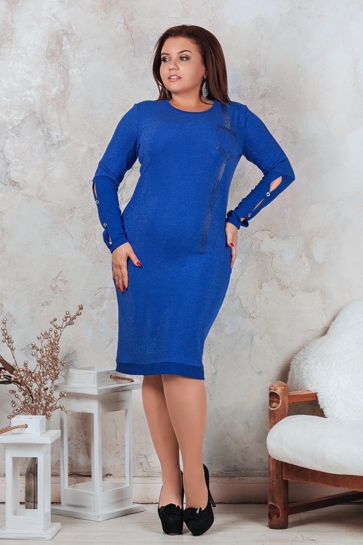 Женское красивое повседневное синее латьеот48 до54р