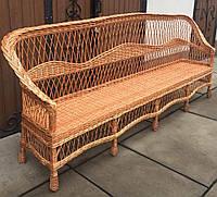 Диван плетеный длинный | диван из лозы для дачи | диван плетеный на четырех