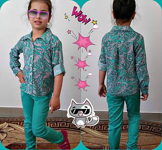 Рубашка для девочек длинный рукав с подворотом