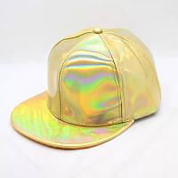 Кепка снепбек Блискуча з прямим козирком Голограма Золота 2, Унісекс, фото 1