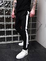 Мужские спортивные брюки штаны черные с белой полоской